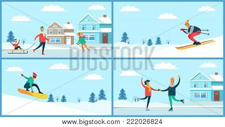 Winter sport and activities outdoors, man with sled and son sitting on it, male skiing and couple ice-skating, snowboarder vector illustration