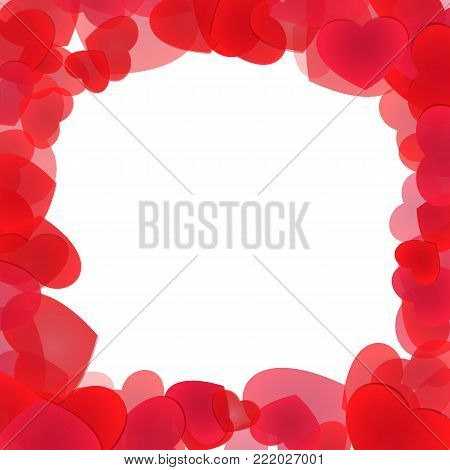 Tender red hearts frame foreground for holiday design