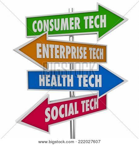 Consumer Enterprise Health Social Technology Signs 3d Illustration
