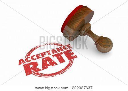 Acceptance Rate Stamp Words Approval 3d Illustration