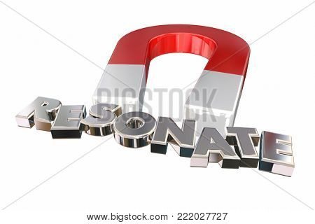 Resonate Connect Make Impact Word Magnet 3d Illustration