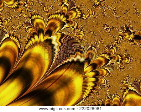 Abstract Gold Dendritic Background Like Frostwork    - Fractal Art