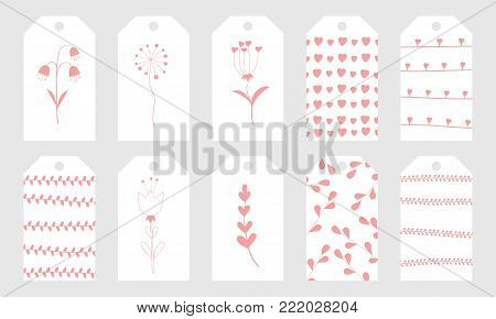 Greeting tags with cute hand drawn elements for Valentine's Day.Set of holiday stamps, tags, badge ,pins, stickers, greeting cards, templates.Vector seasonal design.Hearts and floral patterns
