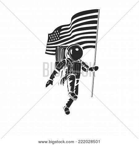 Astronaut on moon with american flag. high quality work
