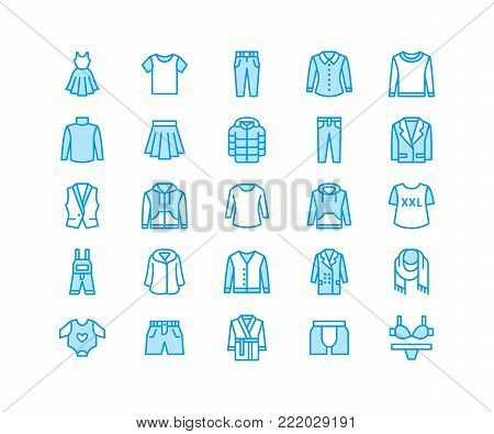 Clothing, fasion flat line icons. Mens, womens apparel - dress, down jacket, jeans, underwear, sweatshirt. Thin linear signs for clothes and accessories store. Pixel perfect 64x64.