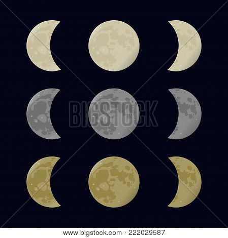 Yellow, gray and white moon. Full and half. Phases vector illustration. Astronomy design.