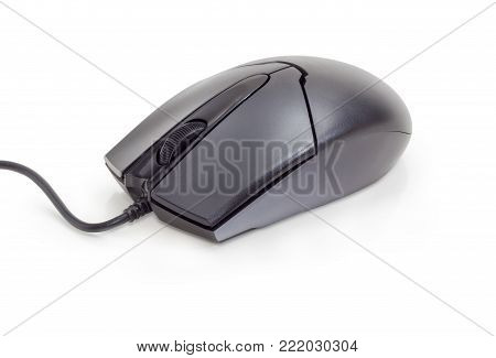 Modern black typical cabled optical computer mouse with two buttons and a scroll wheel on a white background