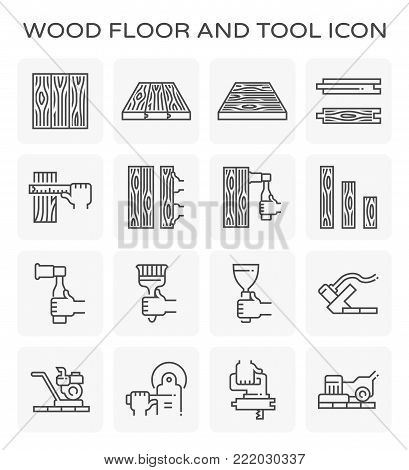Wood floor and construction tool vector icon set design.