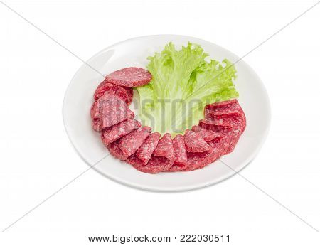 Sliced salami and lettuce leaf on the white dish on a white background