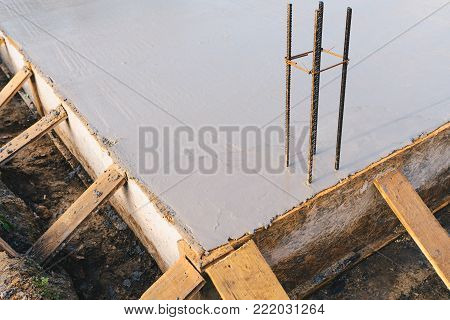 concrete slab - with steel reinforcement bars