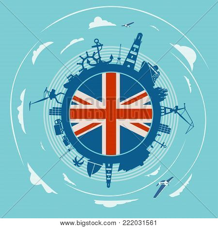 Circle with sea shipping and travel silhouettes. Objects located around the circle. Flag of the Great Britain in the center of circle. Cloudscape with airplanes