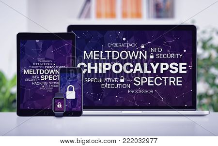 Chipocalypse concept with meltdown and spectre threat. Chipocalypse vulnerability concept with meltdown and spectre threat on laptop tablet pc smartphone and smartwatch screens.