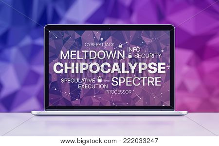Chipocalypse concept with meltdown and spectre threat. Chipocalypse meltdown and spectre threat on laptop screen on ultraviolet polygonal background.