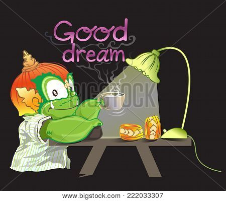 Thai Giant pick up milk cup will drink before sleep has smoke word is a Good dream cute vector fantasy cartoon acting design side view illutration has a clipping paths.