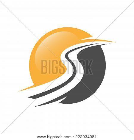 Road construction creative symbol layout. Paving logo design concept. Asphalt repair company sign idea.