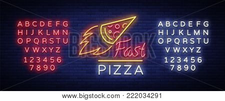 Pizza neon sign vector. Pizzeria neon logo, emblem. Neon advertising on the topic of pizza cafe, restaurant, dining room, snack bar, bar. Shining banner. Vector illustration. Editing text neon sign.