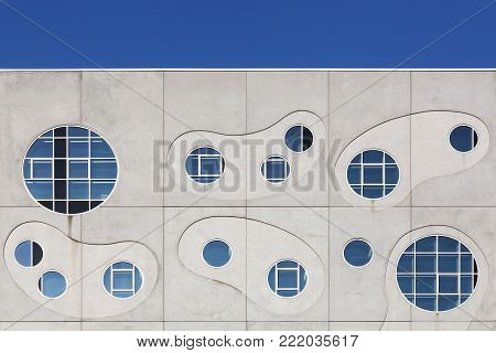 Aalborg, Denmark - July 13, 2017: Details and facade of he House of Music called Musikkens Hus in danish in Aalborg, Denmark