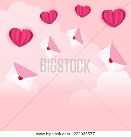 Vector illustration for Valentines day. Envelopes with heart shaped sticker as love letters are tied with heart shaped balloons flying on the cloud on sweet pink background.