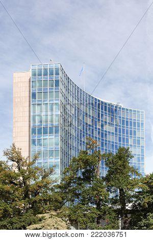 Geneva, Switzerland - October 1, 2017: World intellectual property organization building and headquarters in Geneva, Switzerland