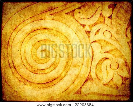 Grunge background with paper texture and detail of an ancient ornamental carved stone ornament in the Moroccan style, Rabat, Morocco, North Africa
