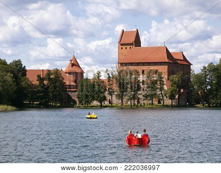 Trakai Castle near Vilnius, Lithuania, view from water