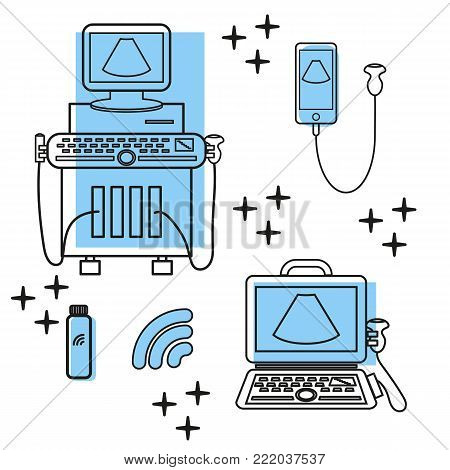 Ultrasound machine and portable ultrasound machines with line and convex transducers. Medical diagnostic device with ultrasound probes. Sonography. Vector illustration made in modern line style. Ultrasound equipment.