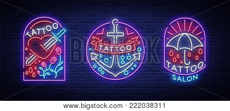 Tattoo parlor set of logos in neon style. Collection of neon signs, emblems, symbols, glowing billboard, neon bright advertising on the theme of tattoos, for tattoo salon, studio. Vector illustration.