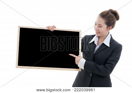 Business concept : Smiling young Asian businesswoman in black suit and white t-shirt holding blank black frame isolated on white background