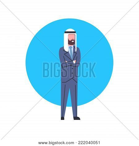 Arabic Business Man Icon Full Length Arab Businessman In Suit, Muslim Male Avatar Flat Vector Illustration