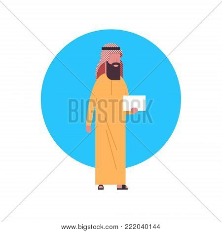 Arabic Business Man Icon Wearing Traditional Clothes Full Length Arab Businessman, Muslim Male Avatar Flat Vector Illustration