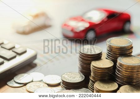 concept business finance and car insurance with accounting