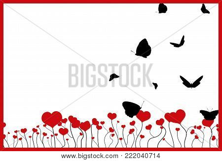 Blooming field with red hearts, flying black silhouettes of butterflies and red frame isolated on white background. Valentine day fantasy postcard with copy space, flat design, vector, eps 10