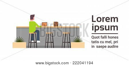 Back View Of Young Man Working On Computer Laptop Sitting At Counter Desk In Modern Coworking Space Coworkers Center Or Cafe Concept Flat Vector Illustration