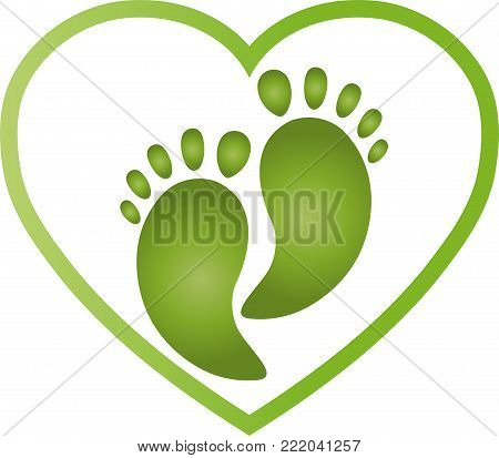 Heart and feet, colored, wellness and foot care logo