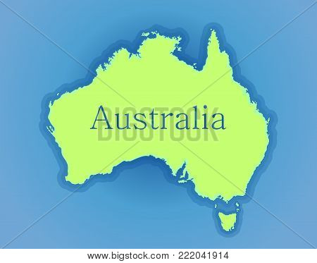 Map of Australia. High detailed silhouette of Australia on a background of the ocean. Vector illustration