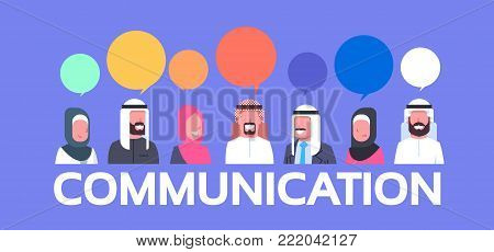 Group Of Arabic People With Chat Bubbles Communication Concept Arab Business Men And Women Flat Vector Illustration