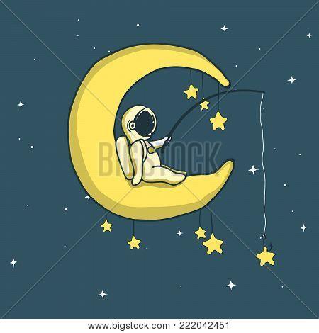 Baby astronaut catches stars on crescent moon.Personage design.Childish vector illustration