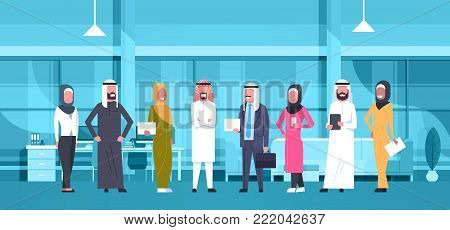 Group Of Arabic Business People In Modern Office Wearing Traditional Clothes Arab Businessman And Businesswoman Employees Workers Flat Vector Illustration
