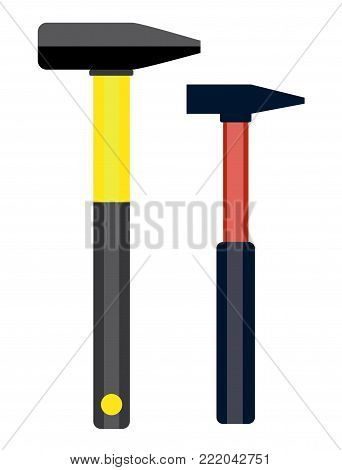 Carpenter hammer in flat style. Typical simplistic hammer tool. Carpenter hammer isolated icon. Hammer vector stock image.