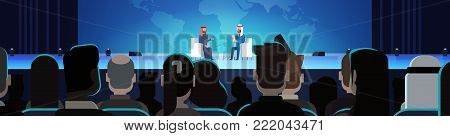Two Arab Business Men Or Politicians On Coference Or Debate Meeting Interview Talking Over World Map In Front Of Big Audience Horizontal Banner Flat Vector Illustration