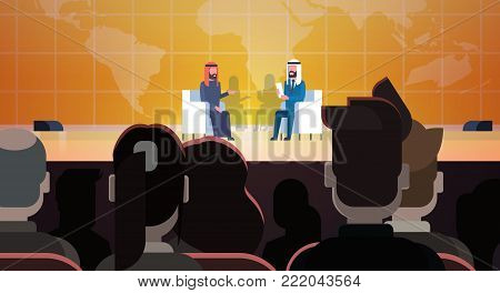 Two Arab Business Men Or Politicians On Coference Or Debate Meeting Interview Talking Sit Over World Map In Front Of Big Audience Flat Vector Illustration