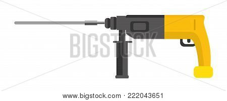 Impact drill. It is isolated, the worker of paths is present. Flat vector illustration.