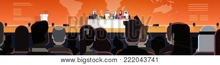 Group Of Arab Business People On Conference Or Public Interview Concept Official Meeting Of Arabic Politicians In Front of Big Audience Horizontal Banner Flat Vector Illustration