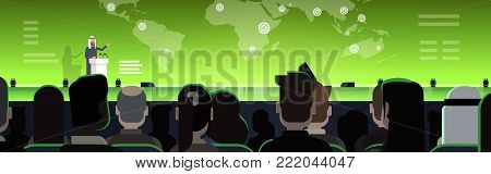 Business Conference With Arab Businessman Or Politician Talking From Tribune Over World Map Arabian Speaker On International Meeting Horizontal Banner Flat Vector Illustration