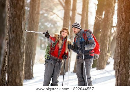 Woman show something with walking stick while hiking at winter in forest
