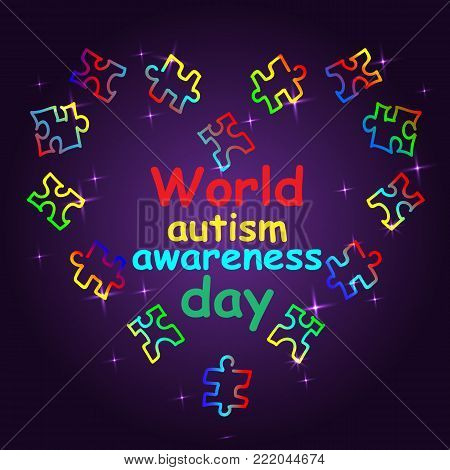 Autism Awareness Month. Trend lettering. Multi colored puzzle in the form of heart of brush strokes. Healthcare concept.