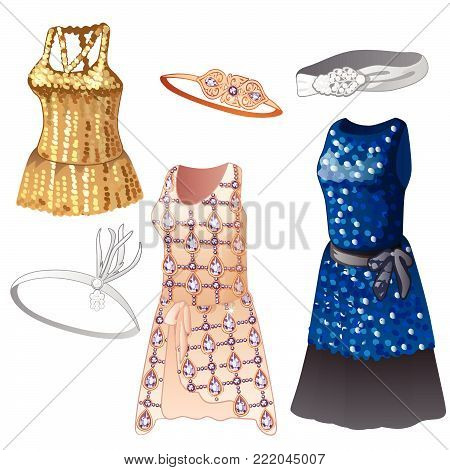 Women's dresses with shiny elements. Cartoon vector illustration close-up.