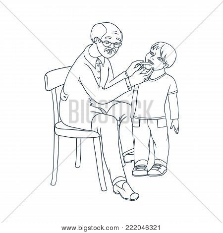 vector flat cartoon male grey-haired doctor examining teen boy kid temperature by mouth thermometer. Man pediatrician in medical clothing and child. Isolated illustration on a white background