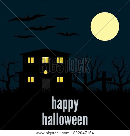A lonely house at night. Vector background for Halloween