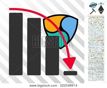 Nem Epic Fail Chart pictograph with 700 bonus bitcoin mining and blockchain clip art. Vector illustration style is flat iconic symbols design for crypto-currency websites.